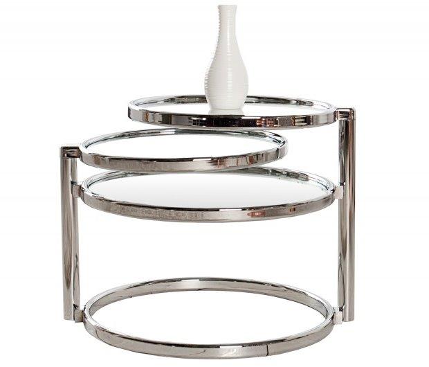 beistelltisch art deco chrom glas 3 ebenen. Black Bedroom Furniture Sets. Home Design Ideas