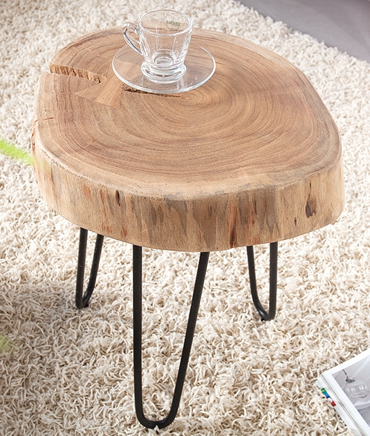 Tavolino goa di acacia legno massiccio disco albero ebay for Beistelltisch baumscheibe