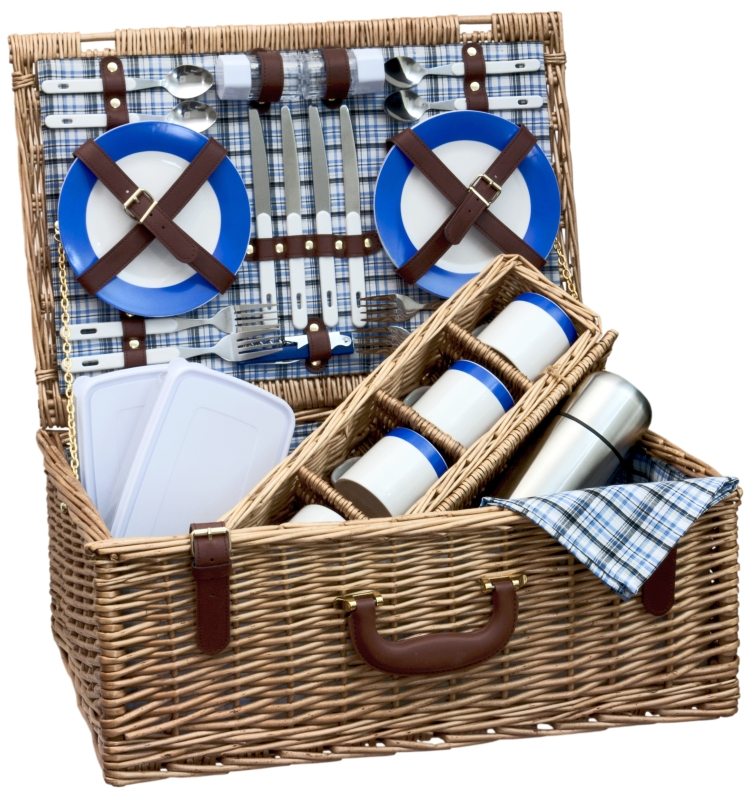 picknickkorb hochwertig ascot mit ausstattung 4 pers ebay. Black Bedroom Furniture Sets. Home Design Ideas