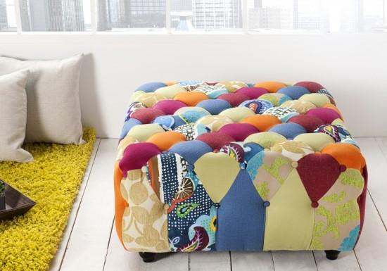 patchwork hocker chesterfield. Black Bedroom Furniture Sets. Home Design Ideas