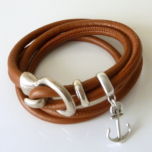 Bracelet Leni with anchor - cognac brown