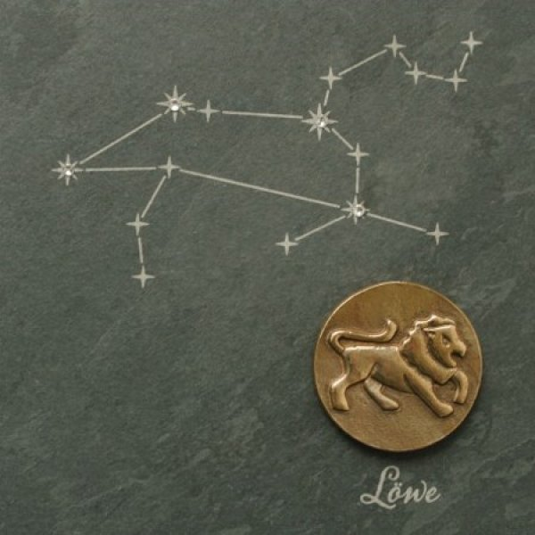 Star Sign Leo - Bronze on natural slate